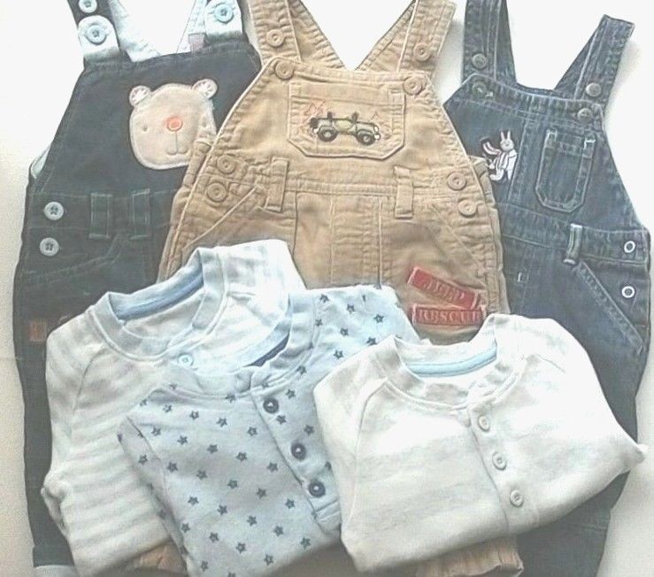 0226aed74eea Baby Boys Clothing Bundle 3 x Dungarees   3 Long Sleeve Tops 0-3 ...