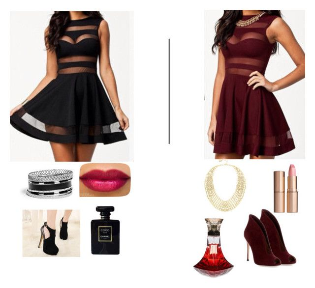 """""""Vote red or black"""" by kris28ks ❤ liked on Polyvore featuring beauty, Gianvito Rossi, Chanel, GUESS, BCBGMAXAZRIA and Charlotte Tilbury"""