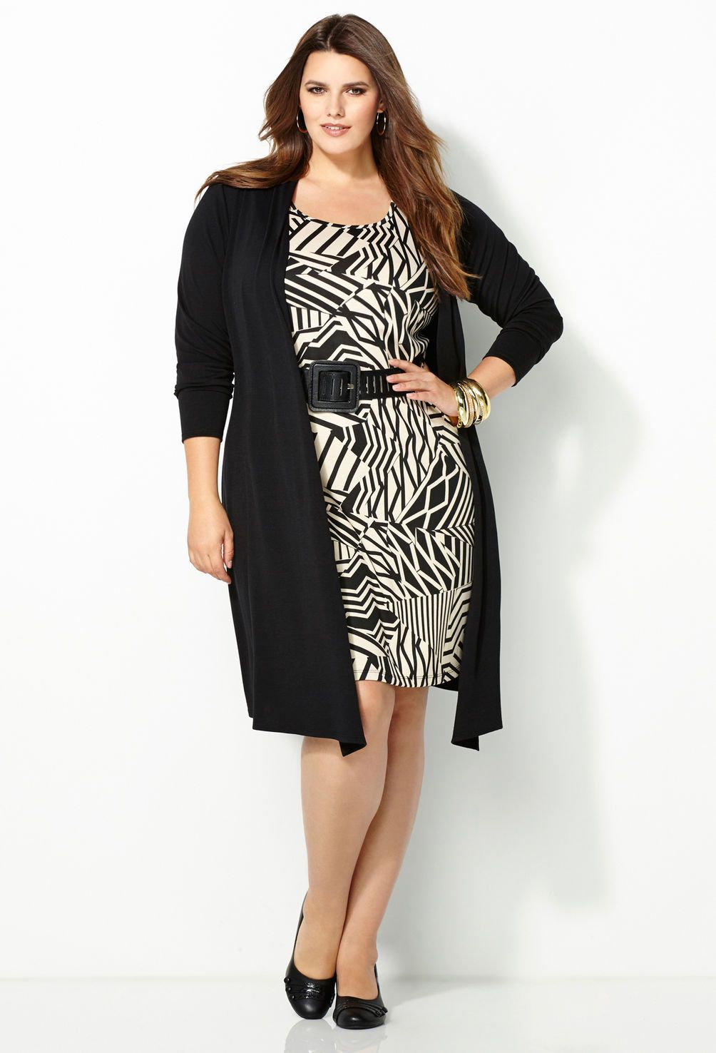 Belted Jacket Dress-Plus Size Dresses with Jackets-Avenue | Curvy ...