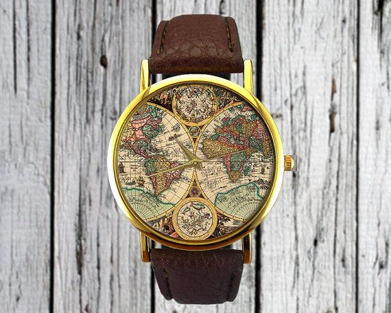 Antique world map watch old map cartography travel gift antique world map watch old map cartography leather watch ladies watch gumiabroncs Images