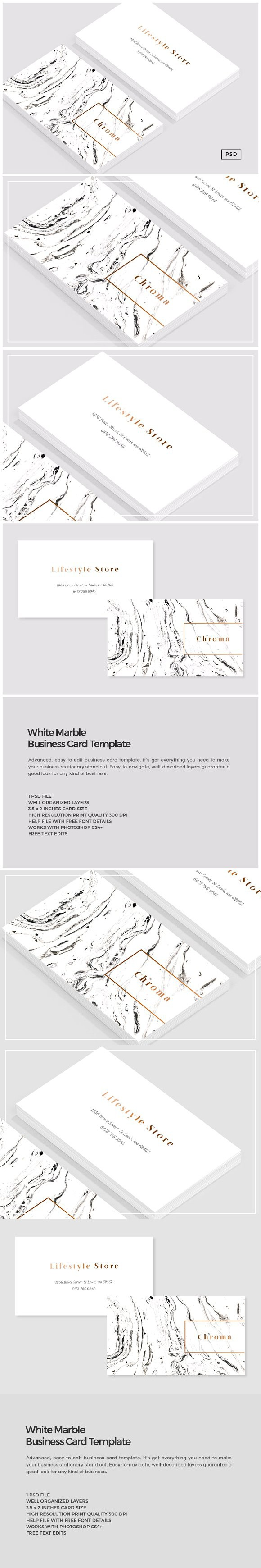 White marble copper business card business cards card templates white marble copper business card photoshop textures reheart Image collections