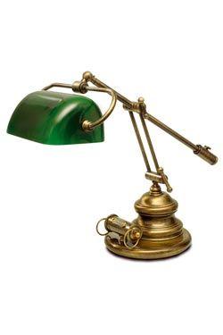 Lampe De Bibliotheque Americaine Verte A Contrepoids Laiton Naturel Ref 13060284 Lampe Banquier Lampe Lampe De Bureau
