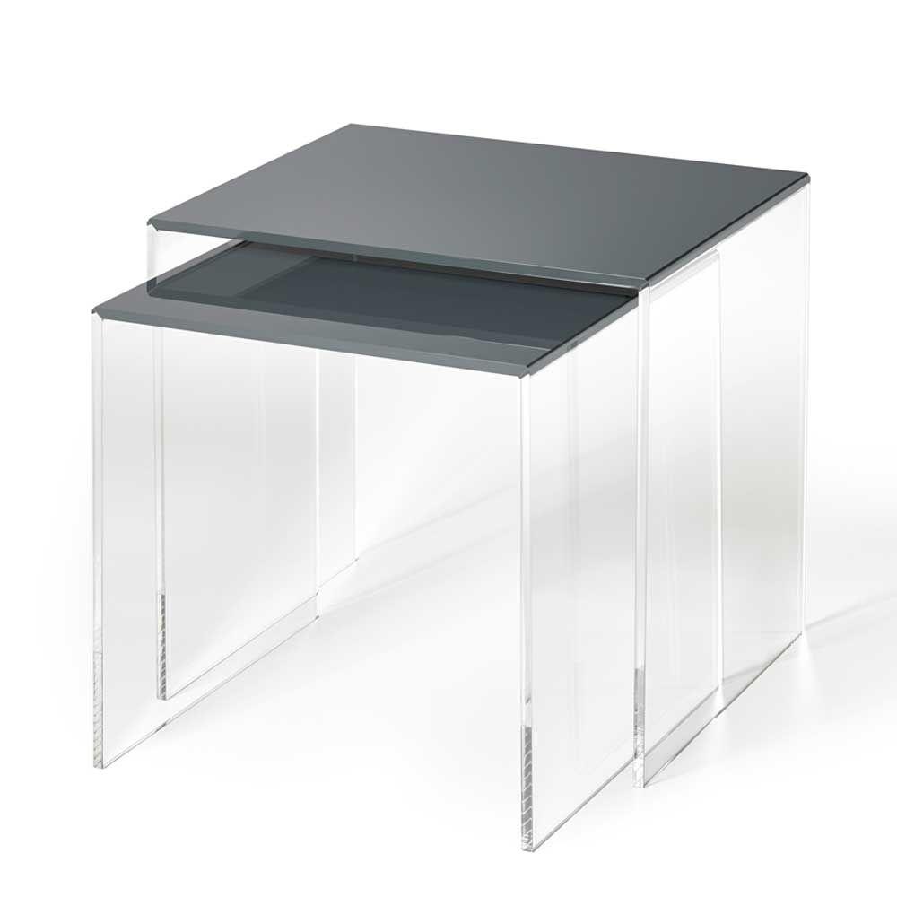 Beistelltisch set aus acrylglas dunkelgrau 2 teilig jetzt bestellen unter https