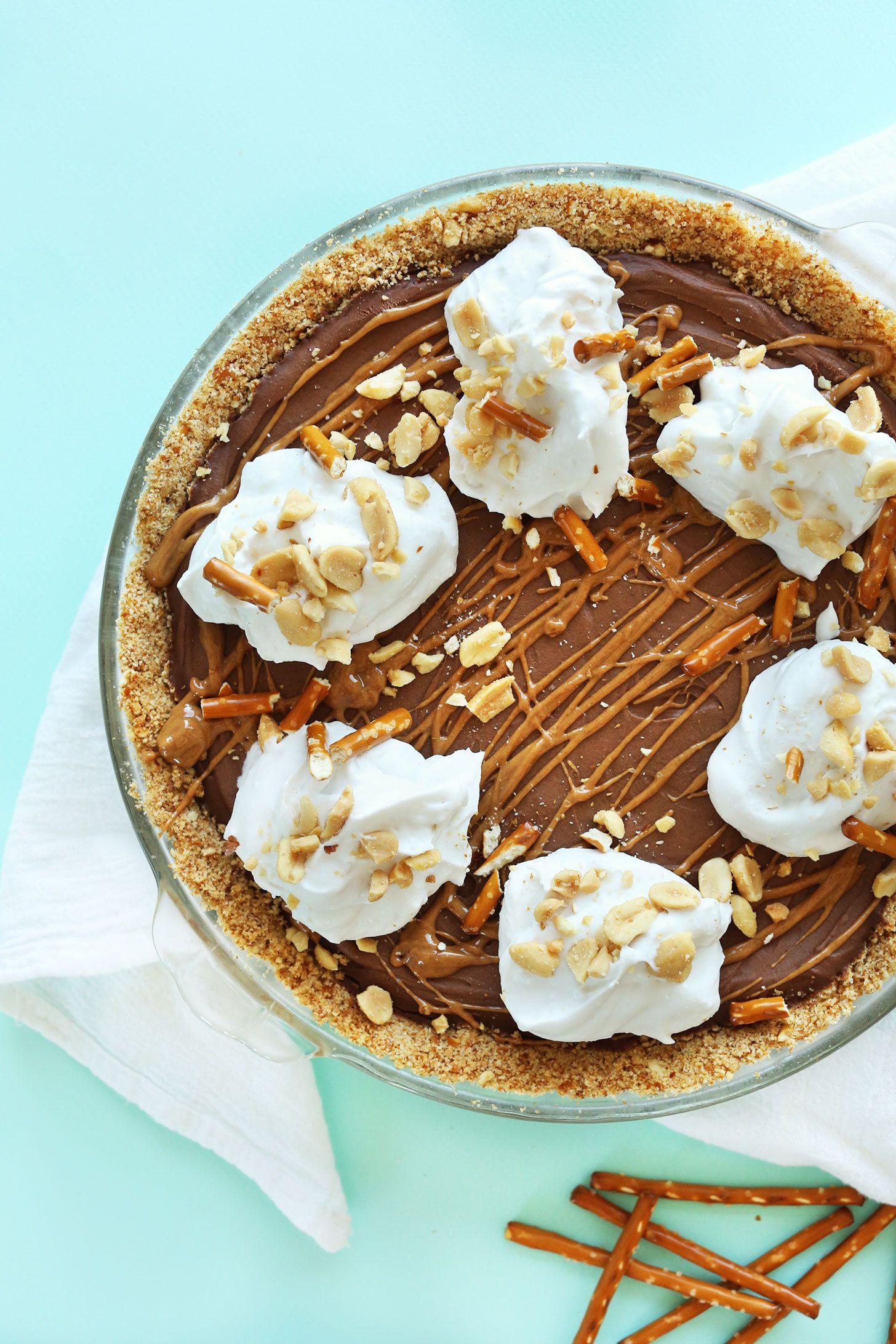 Pretzel Peanut Butter Chocolate Pie Minimalist Baker Recipes Recipe Chocolate Peanut Butter Pie Banana Dessert Recipes Desserts