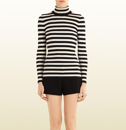 striped silk cashmere turtleneck sweater