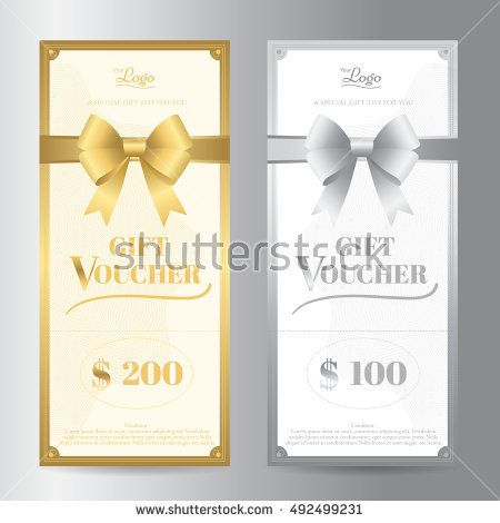 Elegant Portrait Gift Voucher Or Gift Card Template With Shiny