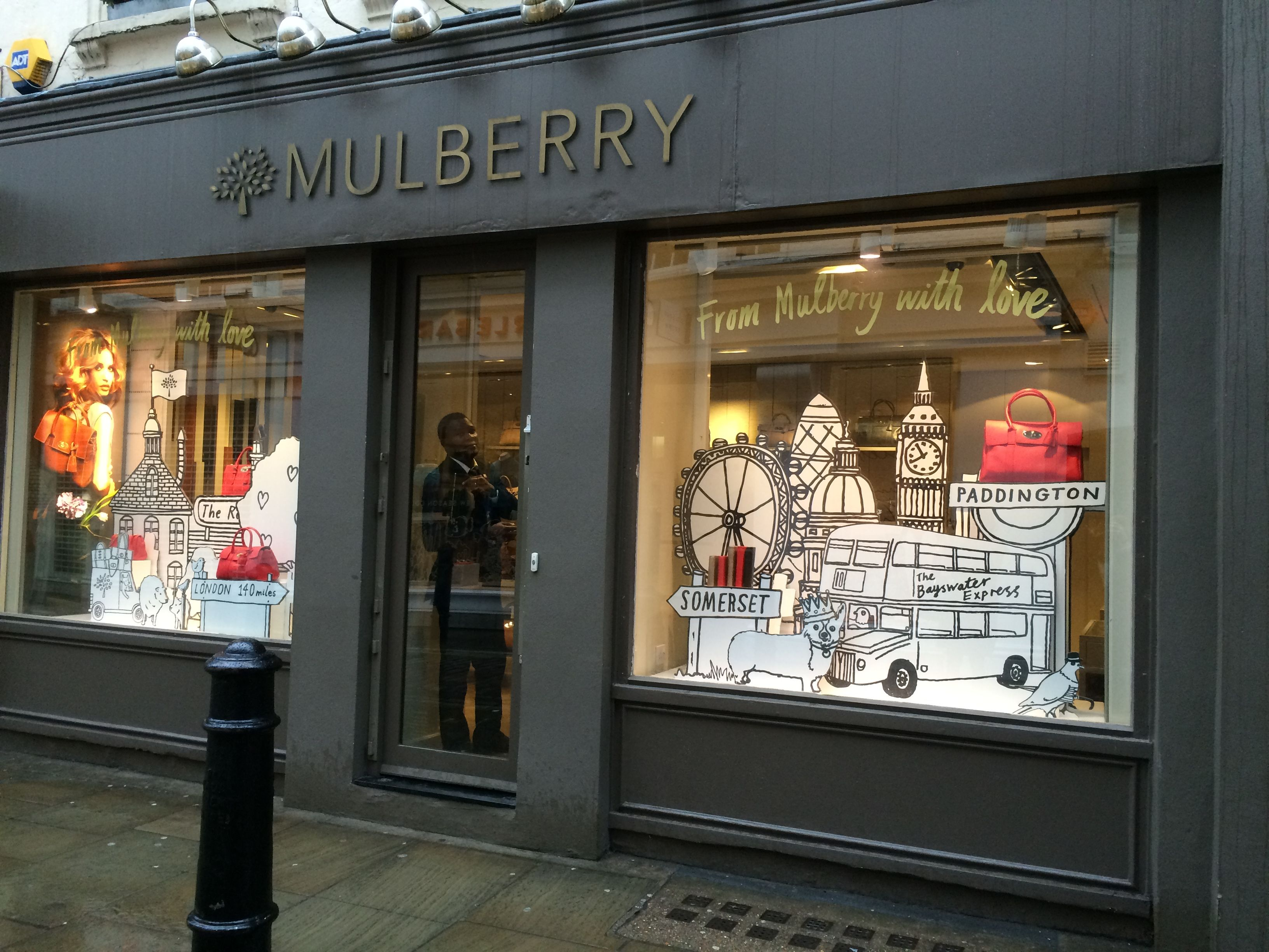 1fa850a553c Mulberry in Covent Garden- I enjoy this display for Mulberry from the  window because it tells a story and uses the bags in the story to show the  product.