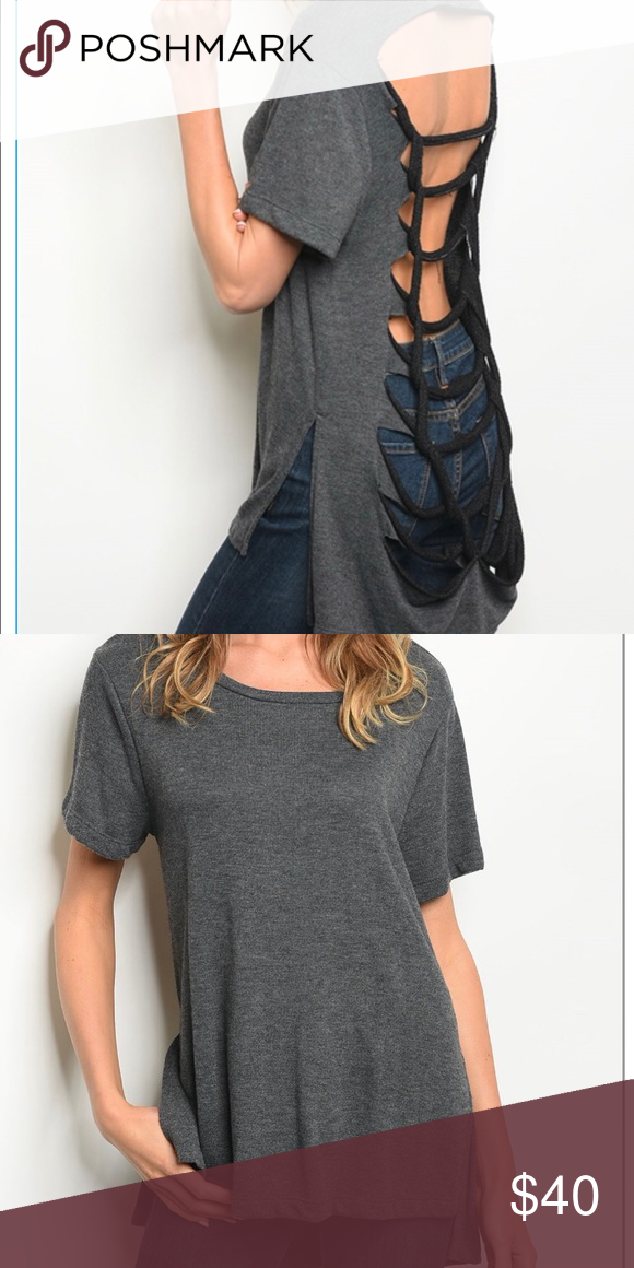 Gray Ripped Shirt Ripped Shirts Charcoal Tops Clothes Design