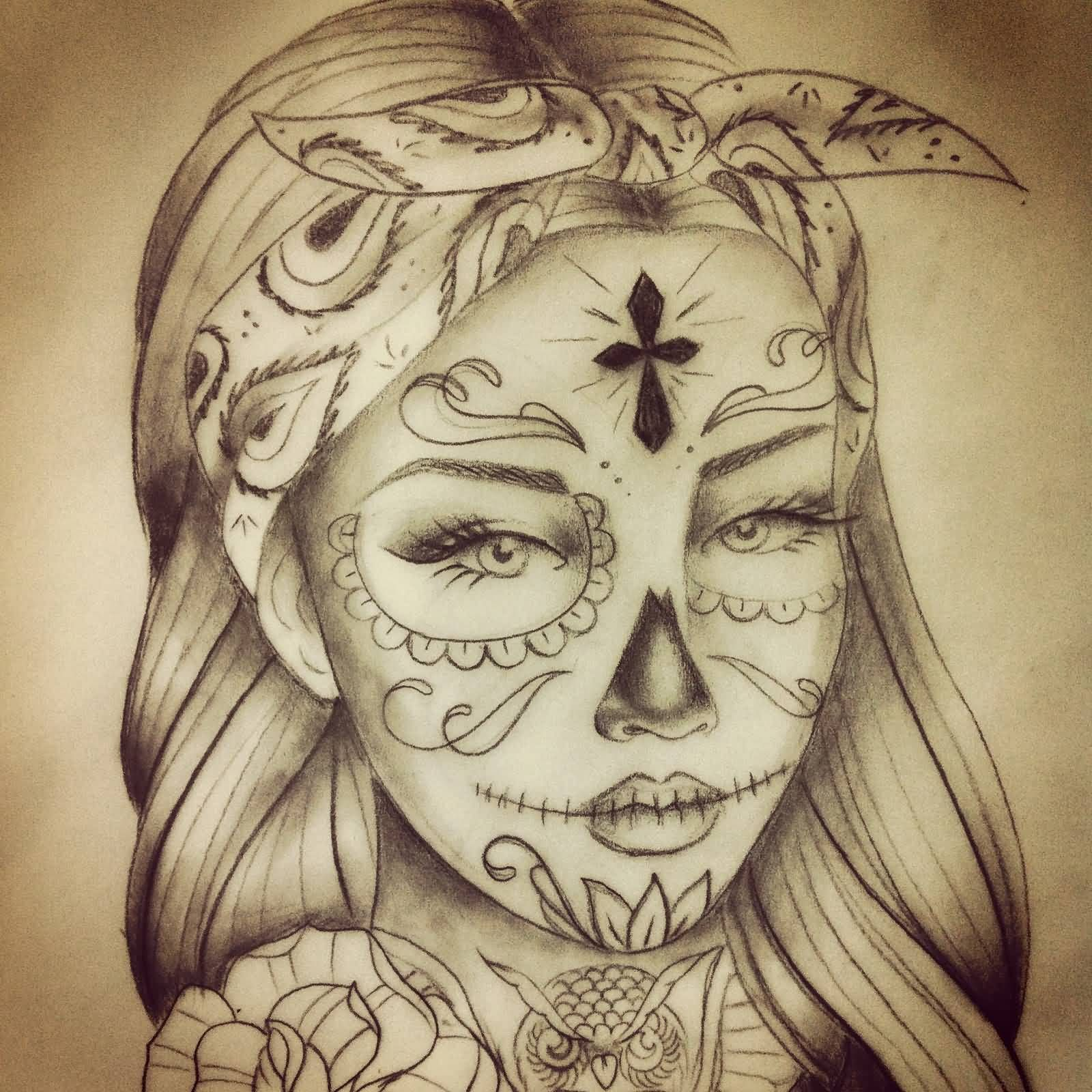 Catrina With Flower Tatto On Leg  Tattoos Pinterest