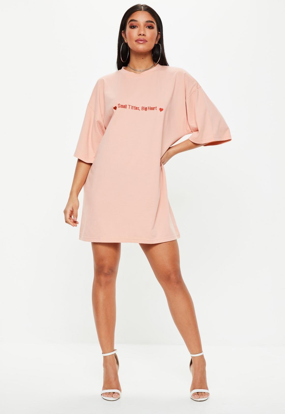 long pink t shirt dress