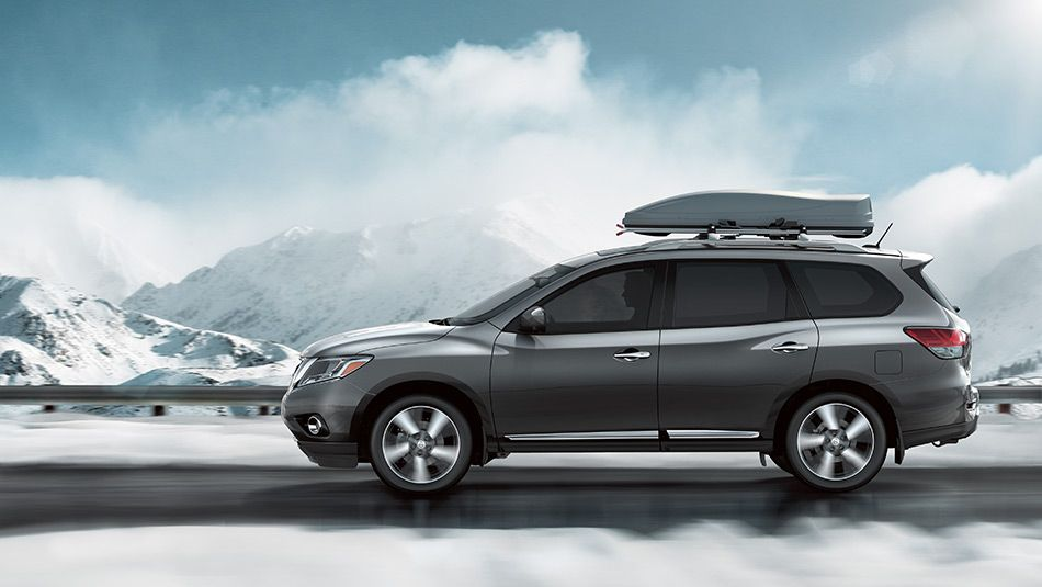 2015 Nissan Pathfinder In Dark Slate In Mountains With Roof Storage