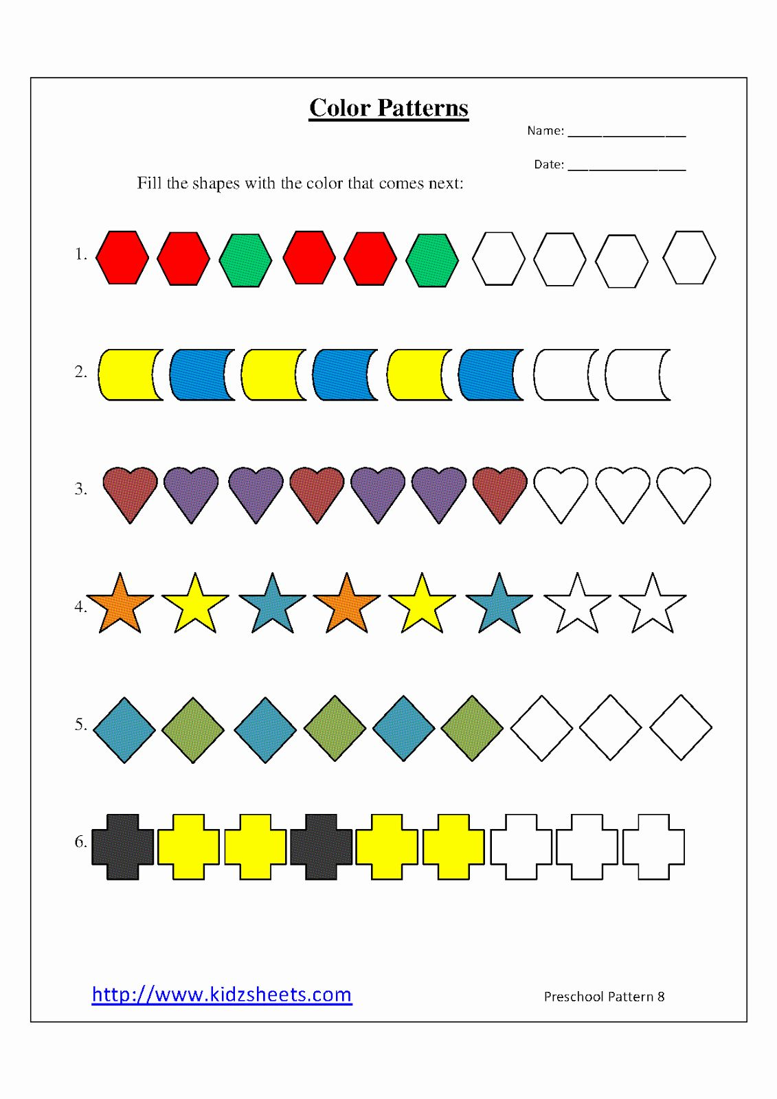 Pattern Worksheets For Preschool In
