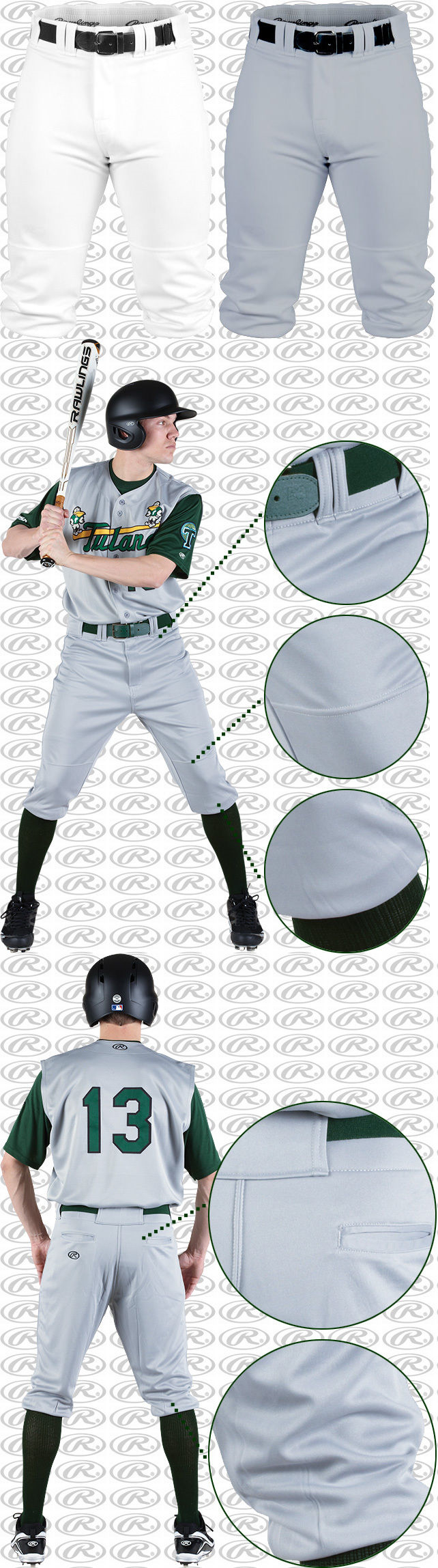 Other Baseball Clothing and Accs 159062: Rawlings Premium Knee-High Fit Knicker Baseball Pants Bp150k White Or Grey -> BUY IT NOW ONLY: $31.95 on eBay!