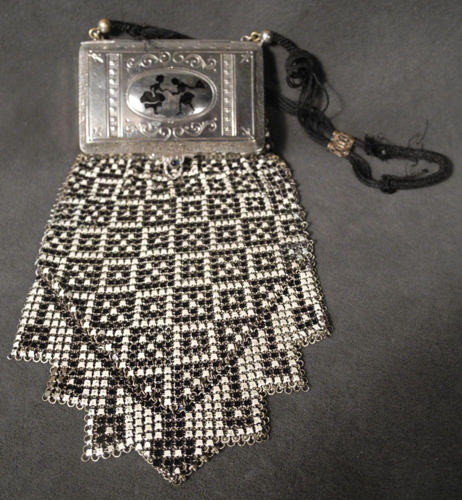 Antique Flapper Whiting & Davis Art Deco Colorful Enamel Mesh Purse Bag…