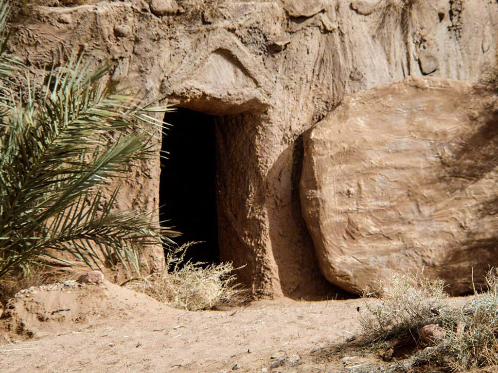 Picture of jesus tomb with stone rolled away