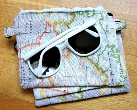 World Map Sunglasses Pouch