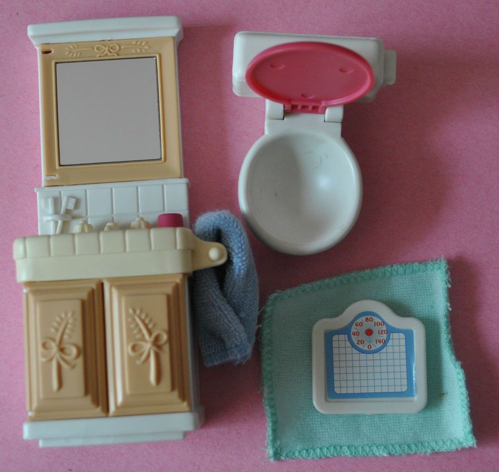 Fisher Price Loving Family Dream Dollhouse, Bathroom Set, Toilet, Sink, weight