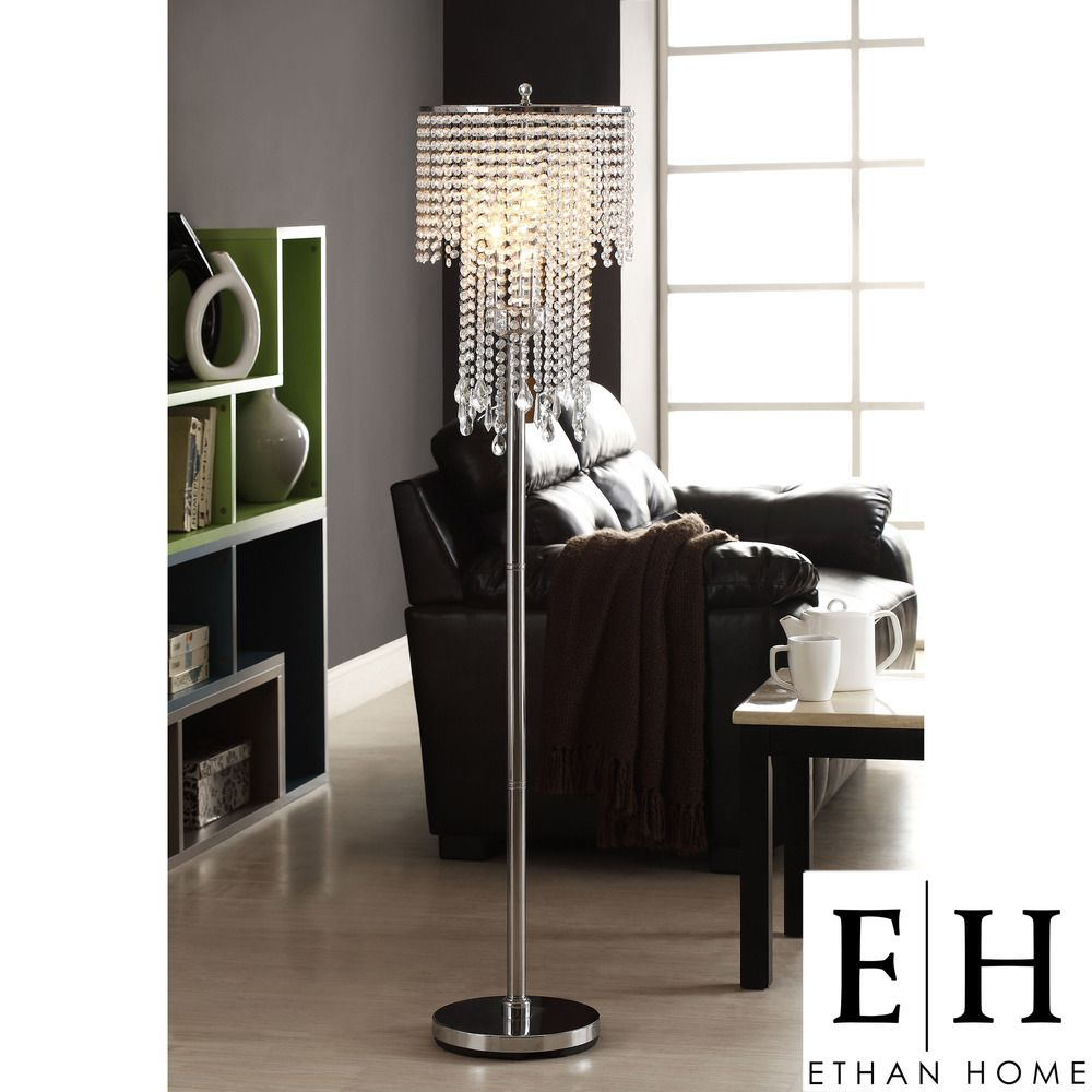 Ethan Home Crystal Rain 3-light Chrome Crystal Floor Lamp | Overstock.com