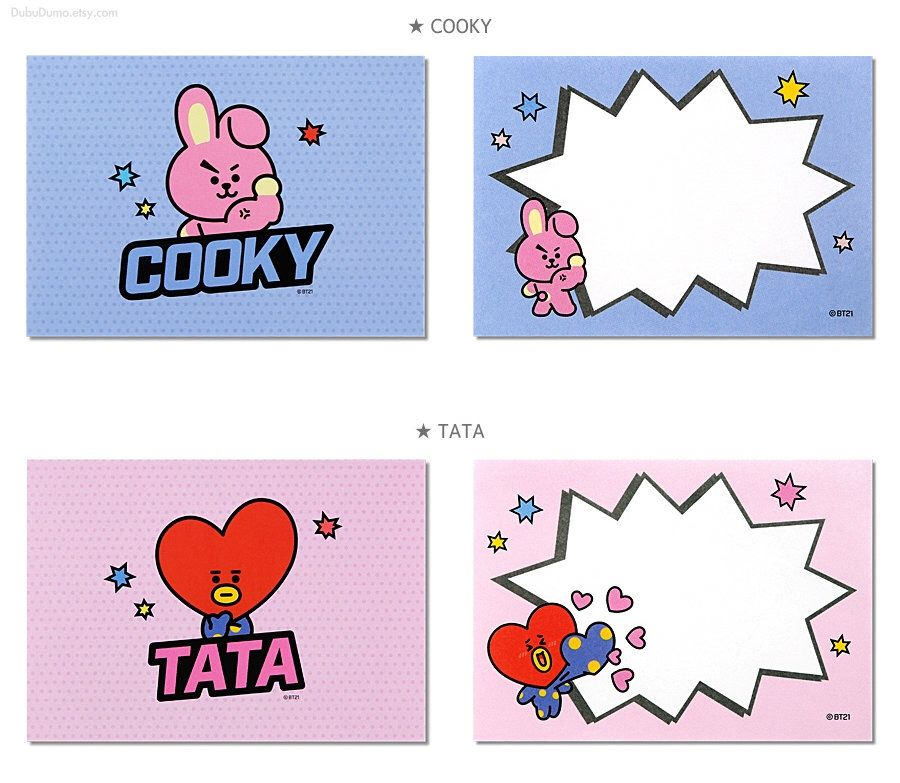 BT21 Memo Pad Pop / BTS Notepads Speech Bubble / K-POP / Scrapbooking / School Supplies / Koya, Chimmy, RJ, Cooky, Shooky, Tata, Mang