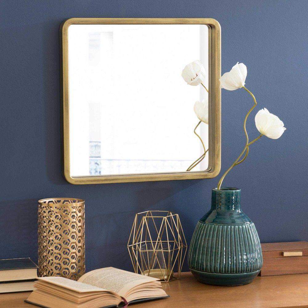 miroir carré doré h 40 cm messina | objets, matières, végétaux