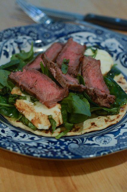 Grilled Steak and Fresh Mozzarella Flatbread #ItsWhatsForDinner by From Valerie's Kitchen, via Flickr