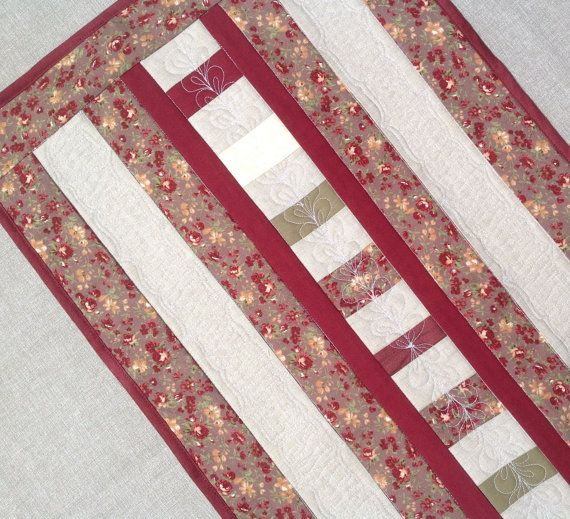 Quilted Table Runner   Red Floral Table Runner   Quilted Table Topper   Dark  Red Table