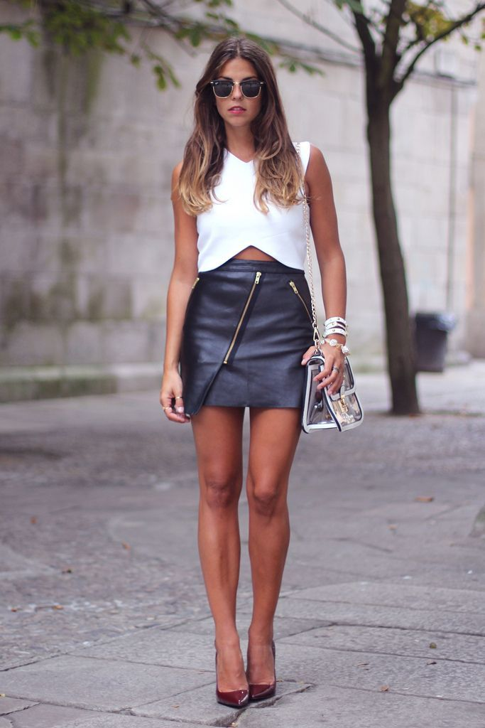 ღ Leather skirt with Zipper detail #perfectbody | shape your ...