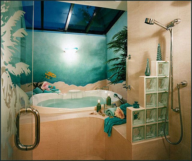 42 Inspiring Tropical Bathroom Décor Ideas : 42 Amazing Tropical Bathroom  Décor Ideas With White Brown White Bathroom Wall Shower Blue Towel Sea  Wallpaper ...