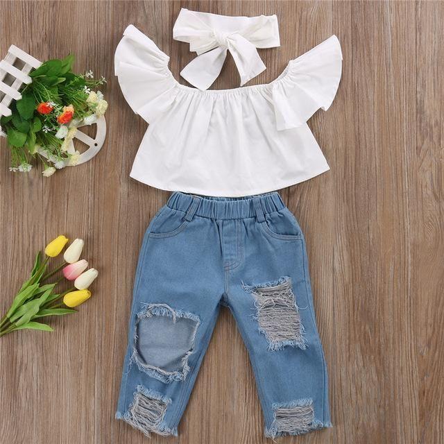 d1e4afc0c Baby Kids Girls Clothes Sets New Fashion Off Shoulder Tops T-Shirts Denim  Pants Hole Jeans 3Pcs Outfits Sets Clothing