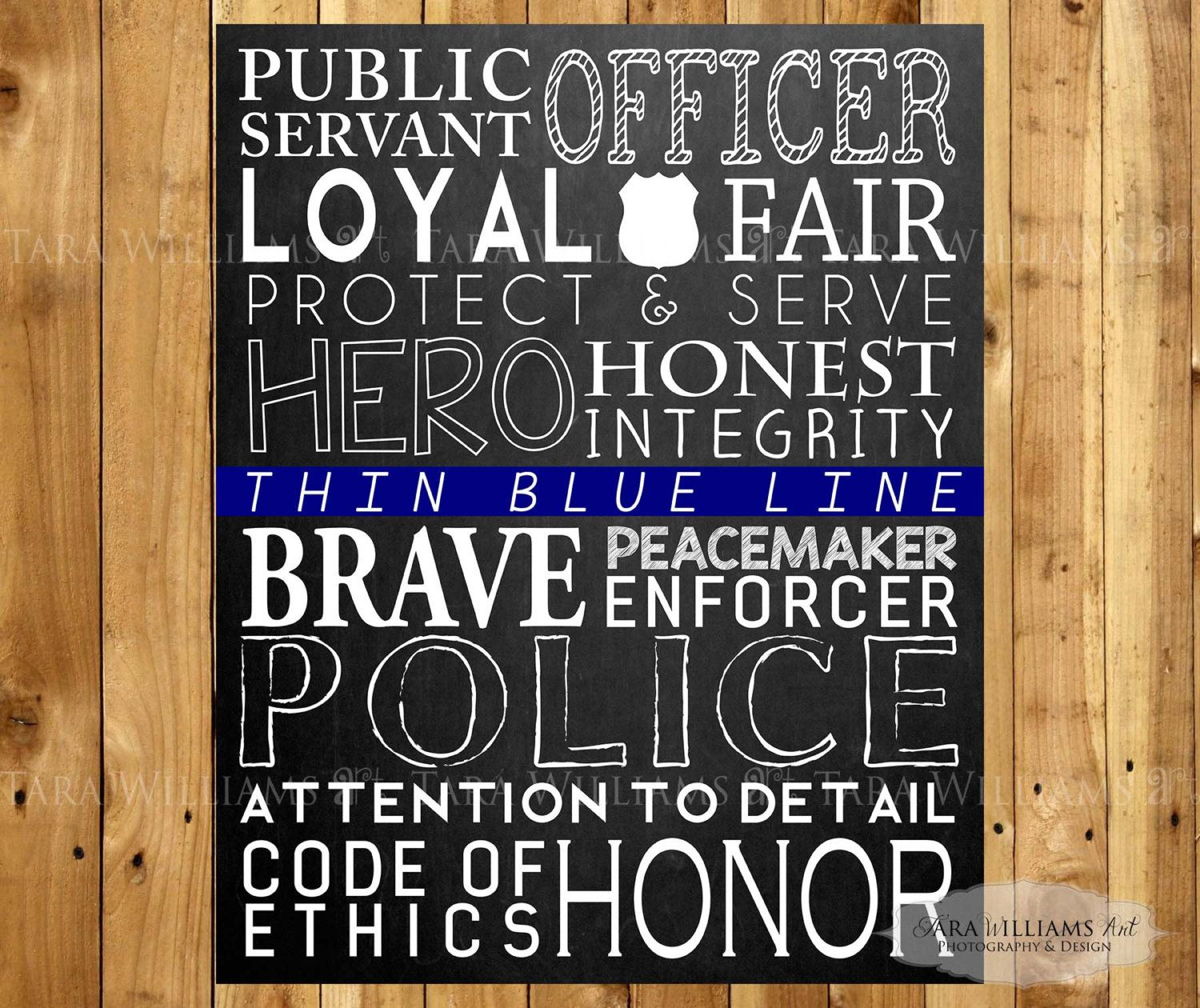Police Typography Art   8 X 10   Law Enforcement Gift   LEO   Home Decor