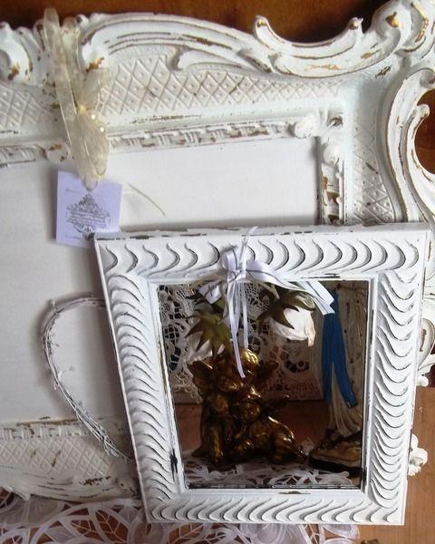 Spiegel - Vintagte,Shabby .Spiegel Weiß gestrichen. - ein Designerstück von Vintage--Kiosk bei DaWanda