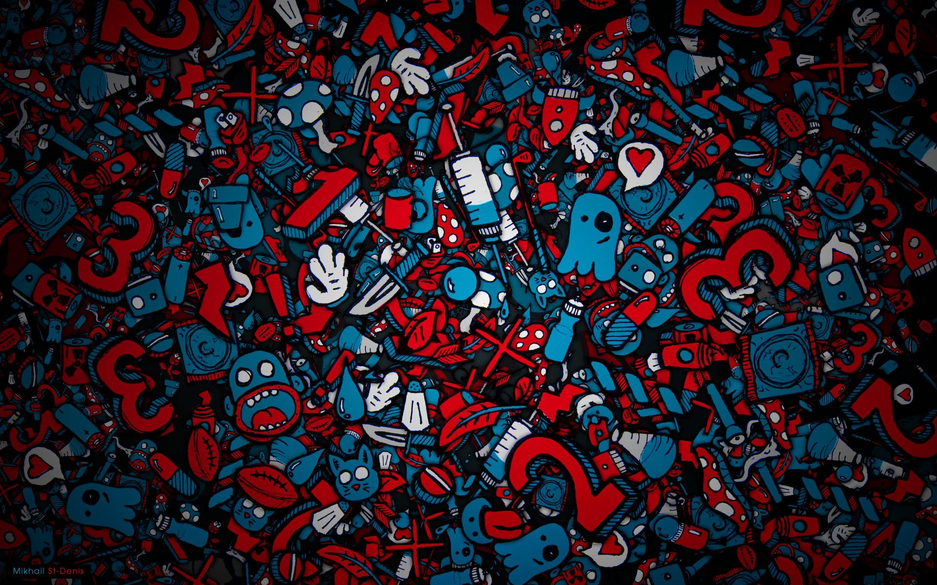 Blue And Red Monsters Illustration Faces Syringe Piling Up Figures 1080p Wallpaper Hdwallpaper Desktop Gambar Wallpaper Keren Disney Up