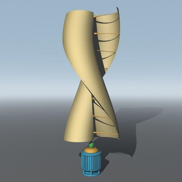 3ds max helical savonius wind turbine | Fibonacci | Savonius wind