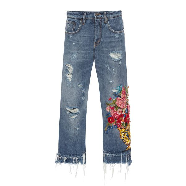 Dolce & Gabbana Embellished High-Rise Jeans (€3.135) ❤ liked on Polyvore featuring jeans, blue, floral jeans, embellished jeans, ripped jeans, high waisted ripped jeans and destructed jeans