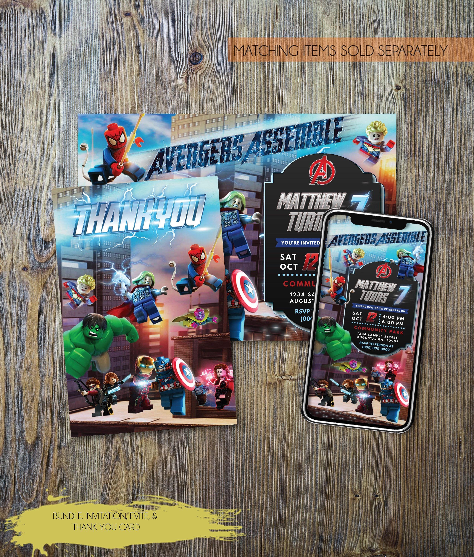 lego avengers bundle birthday invitation lego avengers