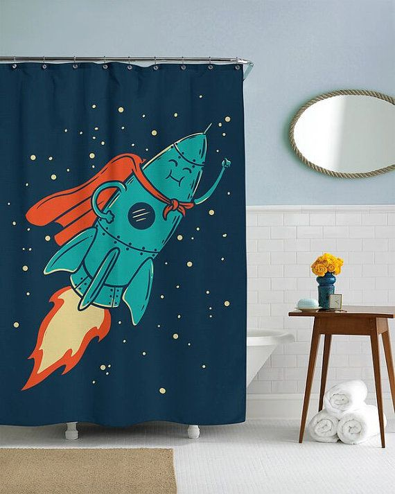 Super Rocket Cool Shower Curtain  in this house by CrazyDogTshirts