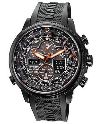 1598b5dab07 Citizen Men s Eco-Drive Navihawk A-T Black Polyurethane Strap Watch 48mm  JY8035-04E