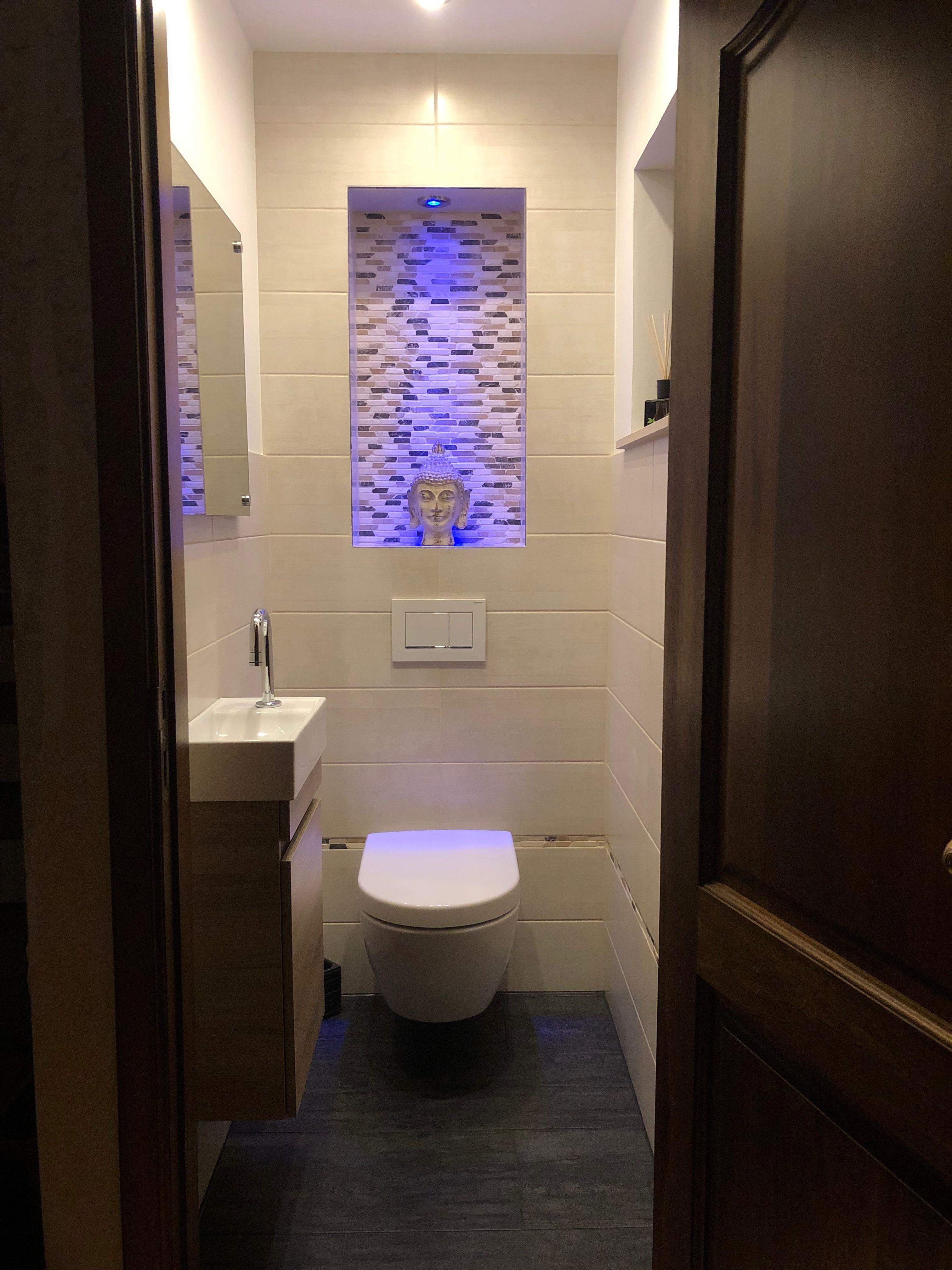 Gäste WC kleines beige Fliesen