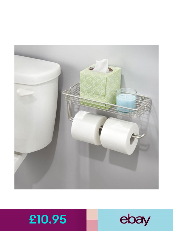 Taylor /& Brown Wall Mounted Double Toilet Paper Roll Holder Bathroom with Shelf