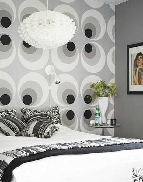 Pin By Kristen Muttpaint On Design Mid Century Modern White Bedroom Decor Wallpaper Bedroom Feature Wall Bedroom Decor