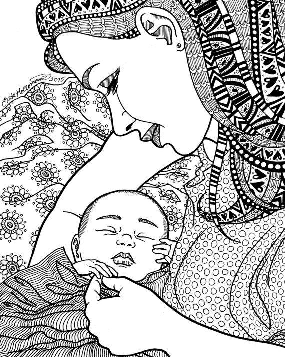 Kleurplaten Baby Born.Finally Coloring Page Motherhood Series By Kateholloman On Etsy
