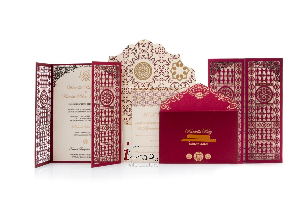 Red and Gold Custom Luxury Laser Cut Wedding Invitations | blue ...