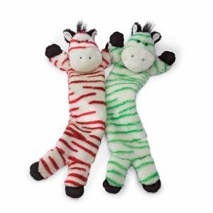 Hugglehounds Holiday Peppermint Striped Zebra Dog Toy Green You