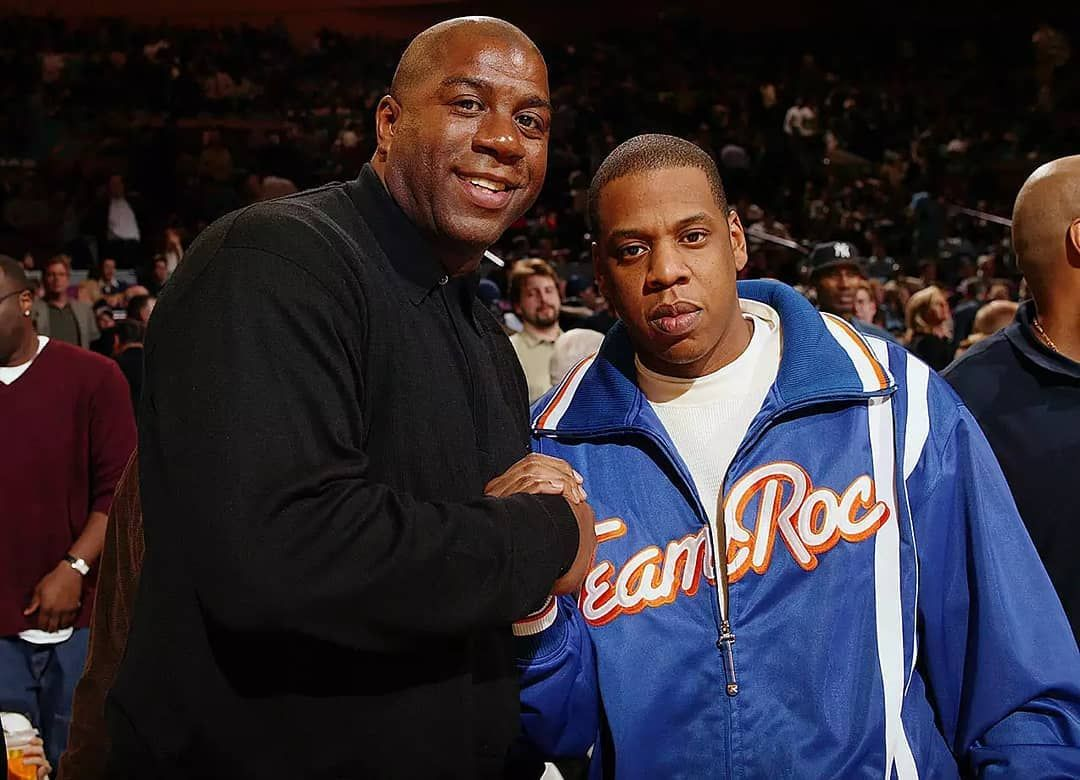 Jay Z And Basketball Legend Magic Johnson Magic Johnson New York Knicks Basketball Legends