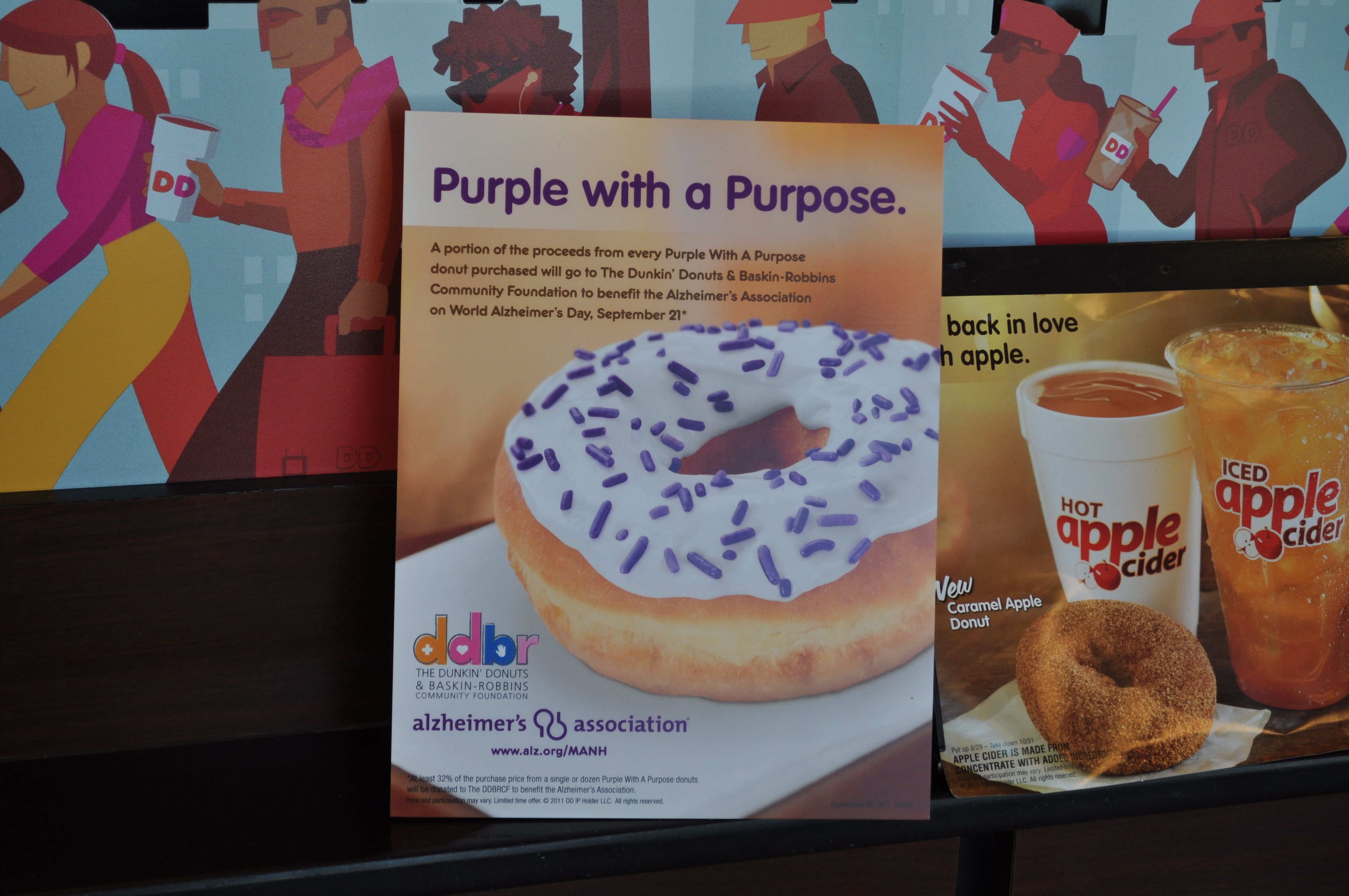 Dunkins purple with a purpose donuts with images