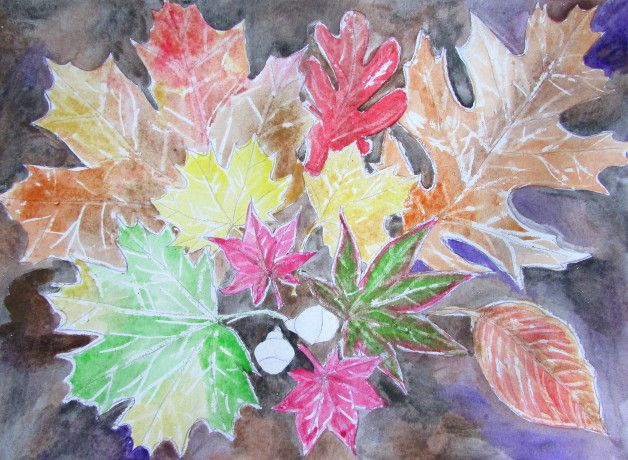 Watercolor Leaves Art Project