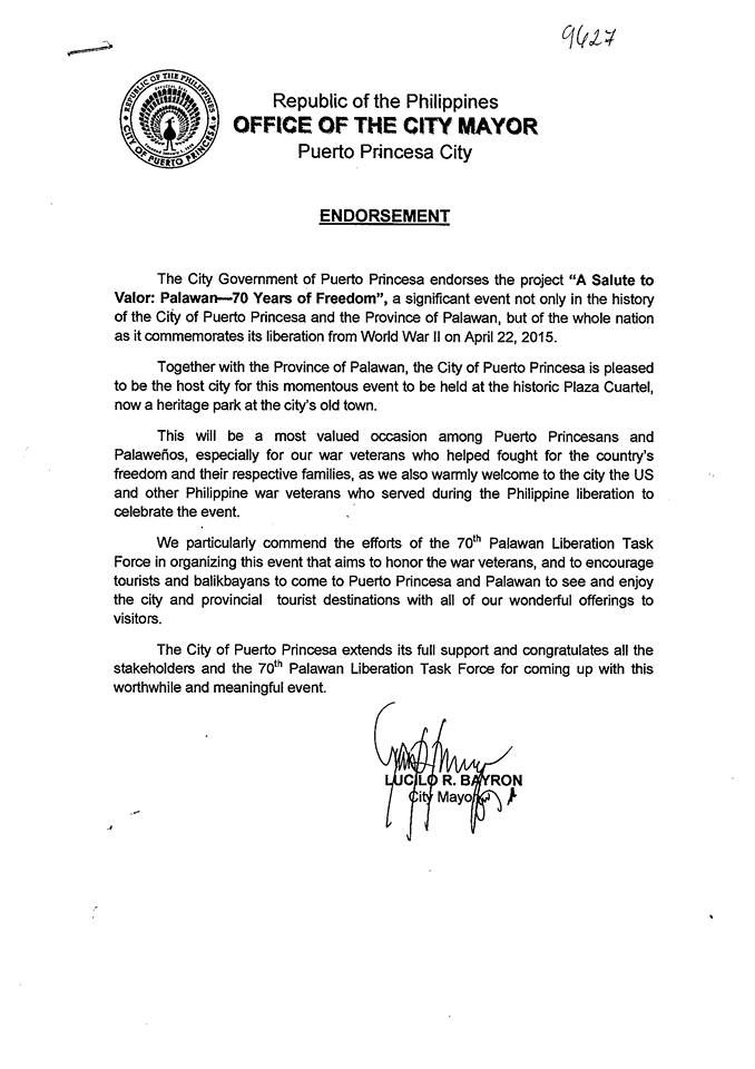City Mayor, Lucilo R Bayron, and the City Government of Puerto - endorsement letter