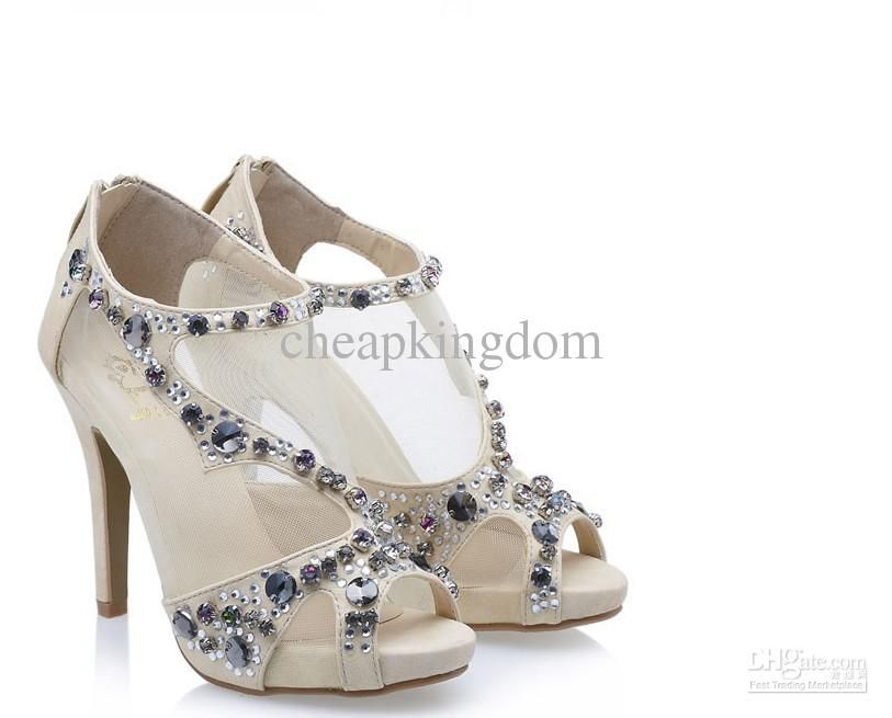 2012 Designer Shoes Nude Crystal Tulle Luxurious Dress Shoes Formal