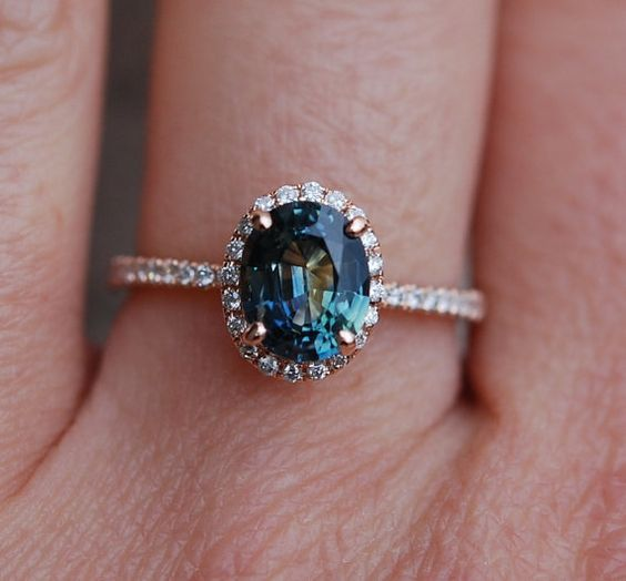 Green Blue Sapphire Engagement Ring Peacock By