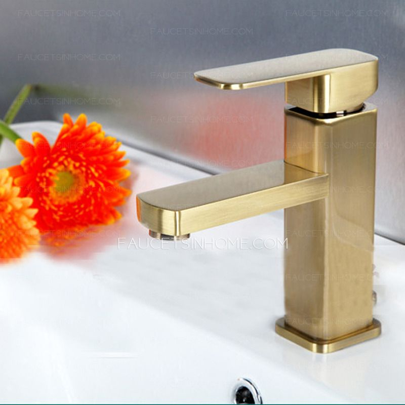 Simple Brushed Gold Square Shaped Bathroom Sink Faucet With